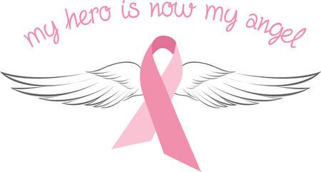 전투기가이 분홍색 유방암 리본 피해자를 기억 지원합니다. 이 리본은 우아한 천사 날개를 가진 고유의 발견이다.