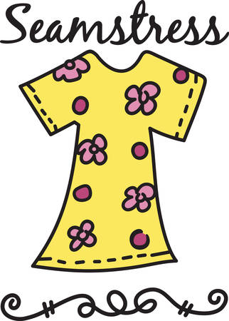 What a colorful floral dress.  A perfect addition to your wardrobe awaits Иллюстрация