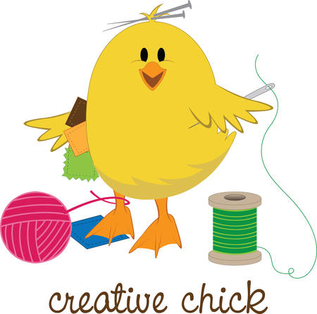 The stitchin  chick is hard at work.  She makes a friendly addition to your craft or sewing room