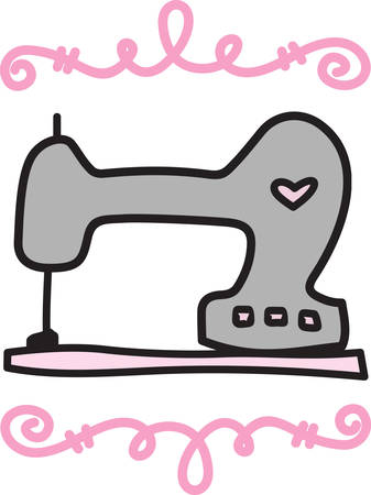 This old fashion sewing machine comes together with lovely swirls to create a design for the seamstress.  Note the heart  shows a real love for sewing
