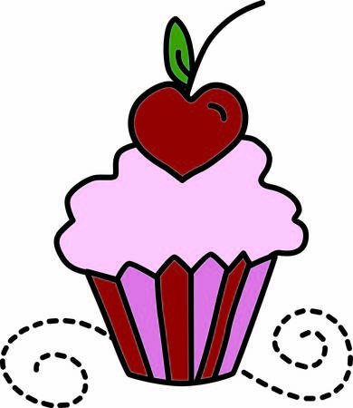 Yummy cupcakes are a universal favorite.  This sweet treat is topped with a heart shaped cherry  certainly not your average cupcake Illusztráció