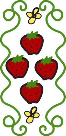 This sweet and delicate strawberry design is the perfect addition to your kitchen projects. Perfect tea towel or curtain accent. Ilustração