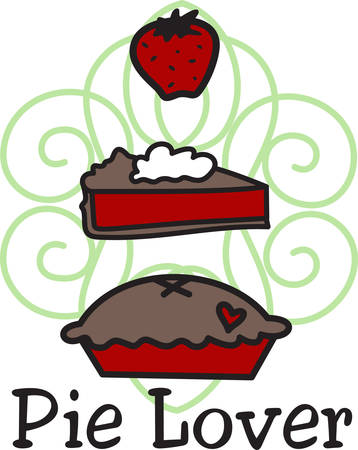 dcor: Two favorites come together in this yummy strawberry fruit and pie design.  Makes lovely kitchen dcor Illustration