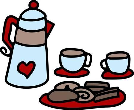 Met een kopje koffie de bijeenkomst van vrienden tot leven komt halen deze ontwerpen van eendracht collecties. Stock Illustratie
