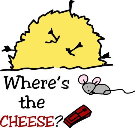chow: A Cheese is used to trap  catch mice . Pick those design by concord. Illustration