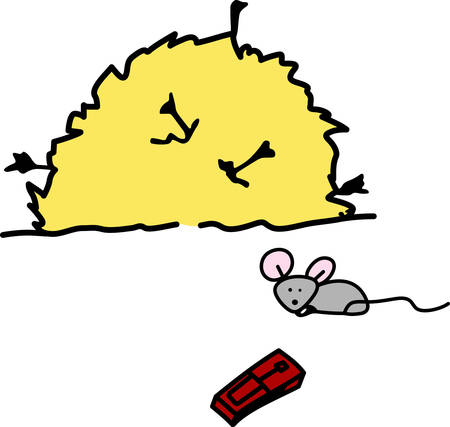 A Cheese is used to trap  catch mice . Pick those design by concord. Иллюстрация