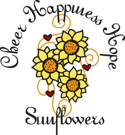 The sunflower brings thoughts of warm sunny summer days.  This design is the perfect adornment to add that summer touch to your dcor. Ilustração