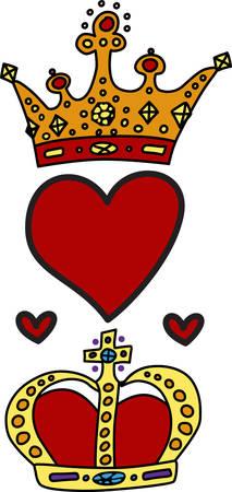 Mostra i tuoi colori reali con questo disegno regale di re e la regina corone e cuori. Certo, per aggiungere un tocco regale Archivio Fotografico - 40757987