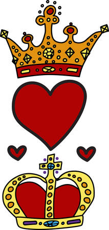 Show your royal colors with this regal design of king and queen crowns and hearts.  Sure to add that regal touch Иллюстрация