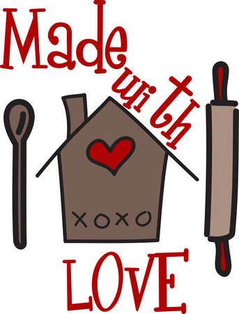Cooking at home gives us joy and time to spend with our loved ones.  The polka dots and hearts add a down home feel. 向量圖像