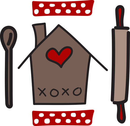 cooking time: Cooking at home gives us joy and time to spend with our loved ones.  The polka dots and hearts add a down home feel. Illustration