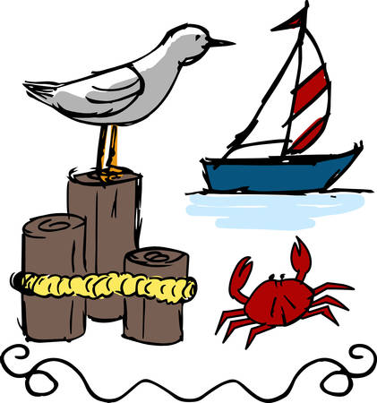 jetty: A Nautical scene have a lot of beautiful things grab these designs from concord collections Illustration