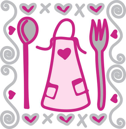 become: Every good cook has a favorite apron.  This design is sure to become a favorite when used for creations filled with hugs and kisses