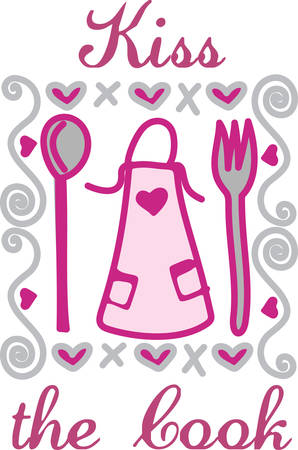 Every good cook has a favorite apron.  This design is sure to become a favorite when used for creations filled with hugs and kisses