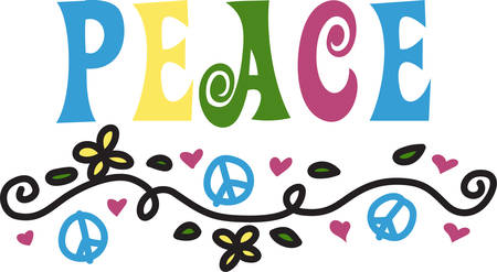 one of a kind: A colorful border of hand drawn peace signs swirls and hearts is a trendy way to make your project a real one of a kind treasure.