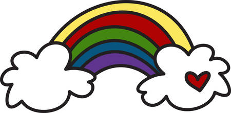 The rainbow is symbolic in so many ways.  This colorful rainbow is a cute way to embellish your projects for any occasion. Illustration
