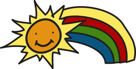 The rainbow is symbolic in so many ways.  We added a happy sun to bring a touch of joy and lightheartedness.  This colorful design adds a cute touch wherever it is used. Ilustração