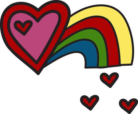 무지개는 여러모로 상징적입니다. 우리는 당신의 특별한 누군가를 위해 사랑 가득한 마음을 더했습니다. 이 화려한 디자인은 사용되는 곳마다 귀여운  일러스트