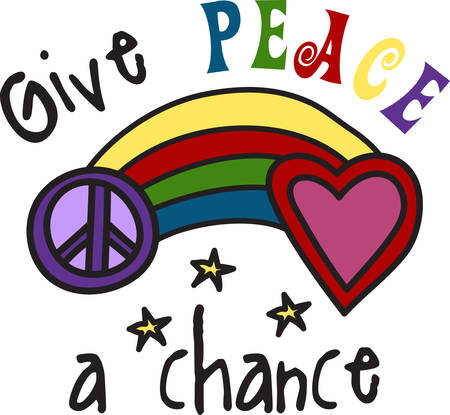 Colorful rainbow spreads the message of peace and love.  Share this goodwill everytime you use this fun design.