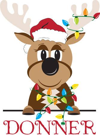 The name Donner means thunder in German.So Enjoy this Reindeer Design. Ilustração