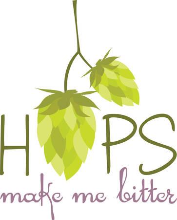 Hop is het belangrijkste ingrediënt dat bier lekker pick maakt deze ontwerpen uit Concord collecties Stock Illustratie