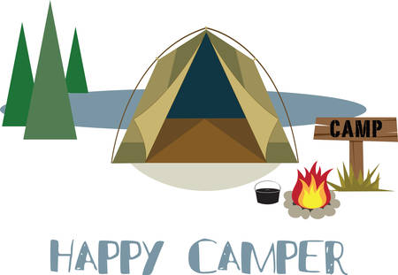 Camping is an outdoor recreational activity and campers enjoy the environment. Stock Vector - 40760337