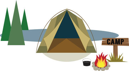 Camping is an outdoor recreational activity and campers enjoy the environment. Illustration