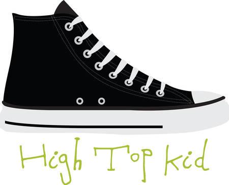 高トップはキックに興奮します。 あなたの次のデザインのこのイメージを取得します。  イラスト・ベクター素材