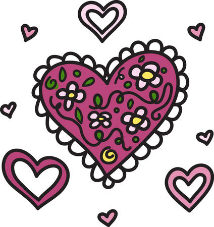 scallops: Hearts say love.  These say love with flowers and pretty scallops.  Use them to send the special message of love to your sweetie Illustration