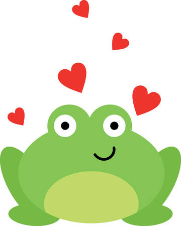 frog in love: Green frog is an icon of love pick these lovely designs from concord collections Illustration