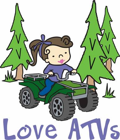 Girl riding her quad in an evergreen pine woods. Vectores