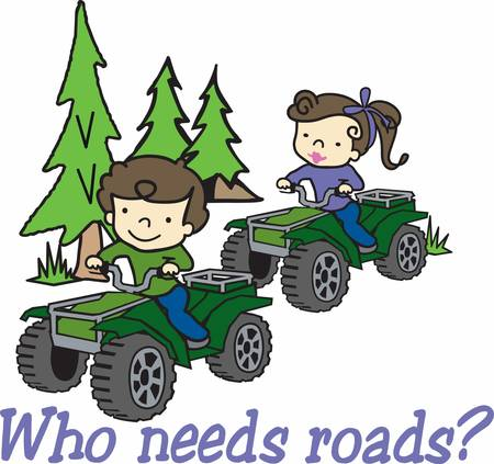 quad: Girl riding her quad in an evergreen pine woods. Illustration