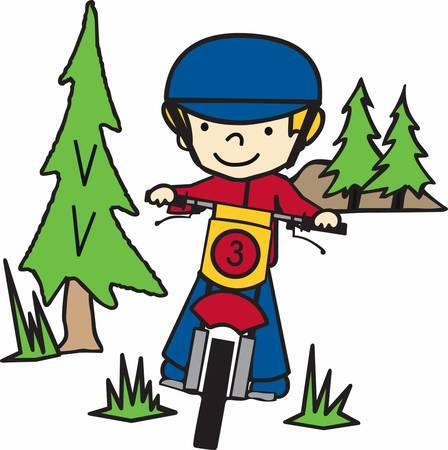 Muchacho que monta su bici de la suciedad en un bosque de pinos de hoja perenne. Foto de archivo - 40805392