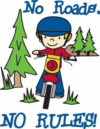 Muchacho que monta su bici de la suciedad en un bosque de pinos de hoja perenne. Foto de archivo - 40805391
