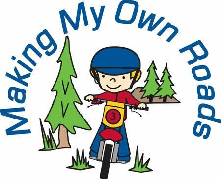 松の木の森で、彼のダートバイクに乗る少年。