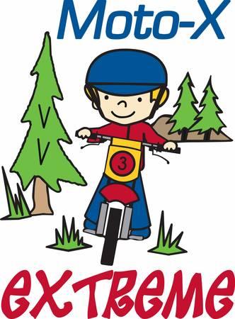 Boy riding his dirt bike in an evergreen pine woods. Illusztráció