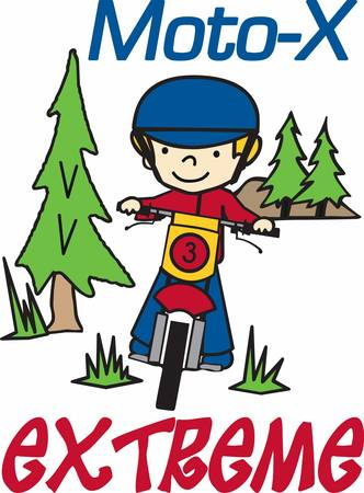 dirt bike: Boy riding his dirt bike in an evergreen pine woods. Illustration