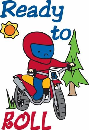 Muchacho que monta su bici de la suciedad en un bosque de pinos de hoja perenne. Foto de archivo - 40805575