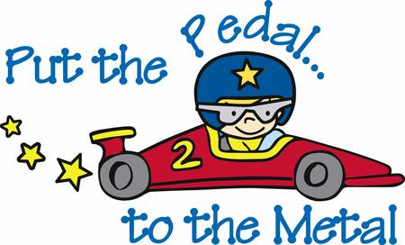 formula 1: Helmeted boy driving a number 2 red race car with yellow stars trailing behind.