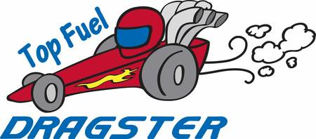 dragster: Red dragster with smoke trailing behind.