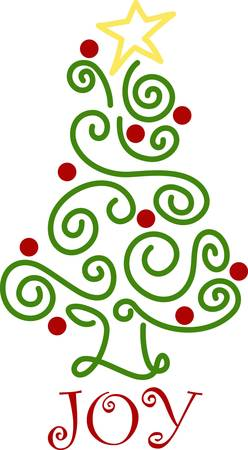swirly lines and dots come together to form a most whimsical christmas tree made absolutely
