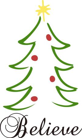 christmas embellishments: The classic lines of the Christmas tree make up this simple yet lovely design.  Perfect for any holiday project. Illustration