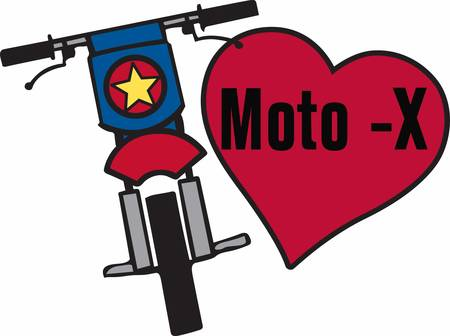 mx: Motocross motorcycle with red heart.