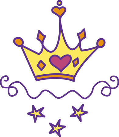adorned: Every princess needs a crown.  Give this heart adorned crown to your princess for a special touch of royalty. Illustration