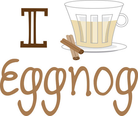 eggnog: Get ready to celebrate the Christmas season with eggnog.  This is a perfect design to add to napkins for your party.