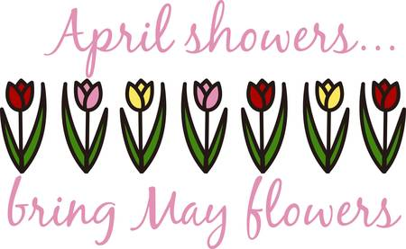 adds: Add a touch of spring with this floral drawing.  This row of tulips adds color and a special charm.