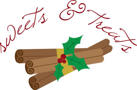 Get ready to celebrate the Christmas season with festive cinnamon sticks.  This is a perfect design to add to napkins for your party. Ilustração