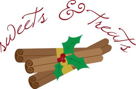 Maak je klaar om het seizoen van Kerstmis met feestelijke kaneelstokjes vieren. Dit is een perfect ontwerp om servetten te voegen voor uw feest. Stock Illustratie