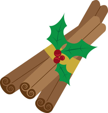 cinnamon sticks: Get ready to celebrate the Christmas season with festive cinnamon sticks.  This is a perfect design to add to napkins for your party. Illustration