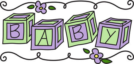 This super cute baby border features letter blocks and a swirly edging.  Love it on all kinds of baby gear